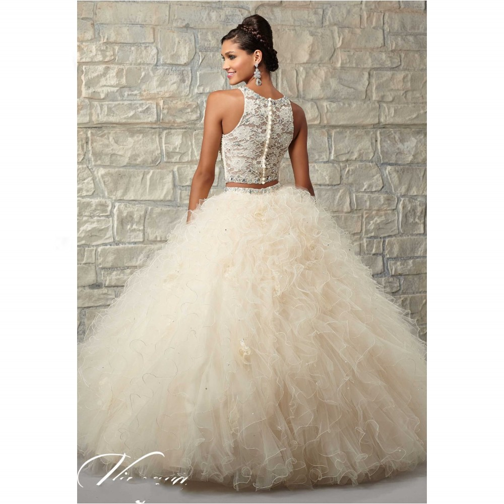 Tulle and lace 2 units puffy dresses coral quinceanera dresses beaded shawl  ball with curly light champagne color -in Quinceanera Dresses from Weddings  ... 8db48e2d8e80