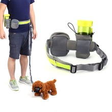 Pet Dog Waist Leash Jogging Running Belt Leash With Bag Sport Adjustable Walking Leash