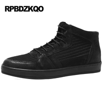 Men Shoes Casual Fashion High Top Footwear Patchwork Knit Quality 2017 Flats Comfort Real Leather Black