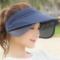 Plegable Sombrero de Dama de Corea Sombrero Vacío Verano Viajar A Lo Largo de Sol Uv sombrero Adulto Mujeres Casual Solid Sombreros Para Las Mujeres Viseras Para El Sol mujeres