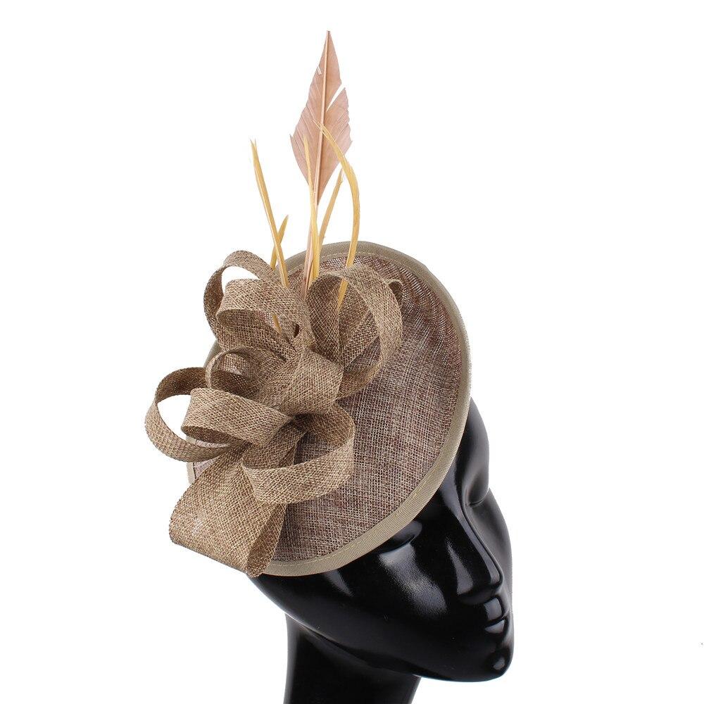 Rosa quente banquete headwear imitação sinamay fascinators