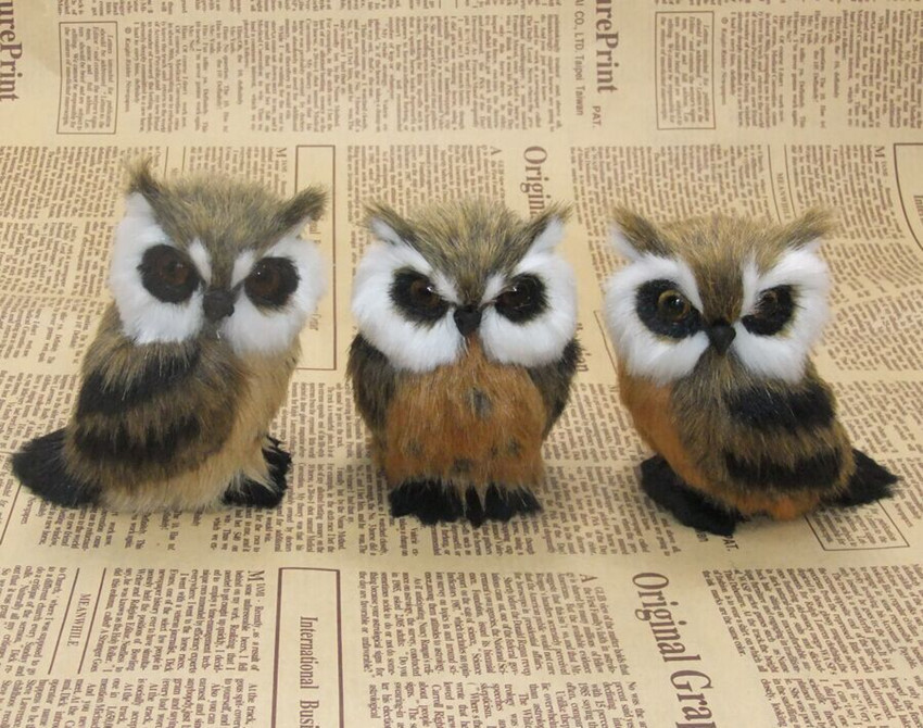 Mini Simulation Owl Plush Animal Home Decoration Simulation Artificial Owl Photograph Props Children Toy