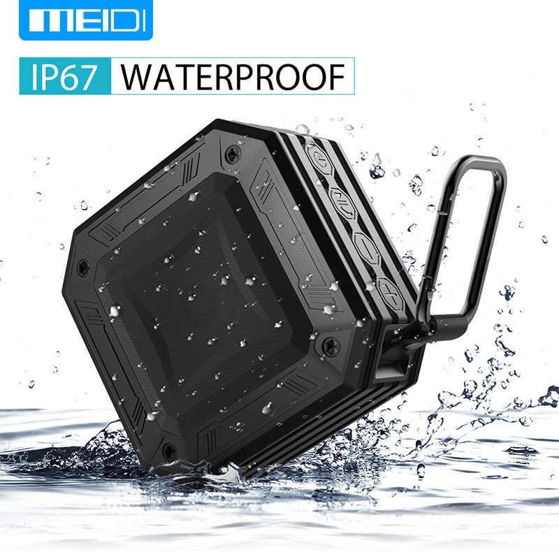 MEIDI อินเทอร์เฟซ AUX ลำโพงบลูทูธกันน้ำกลางแจ้งกันน้ำแบบพกพาวิทยุ FM ลำโพงกล่อง 20 ชั่วโมง