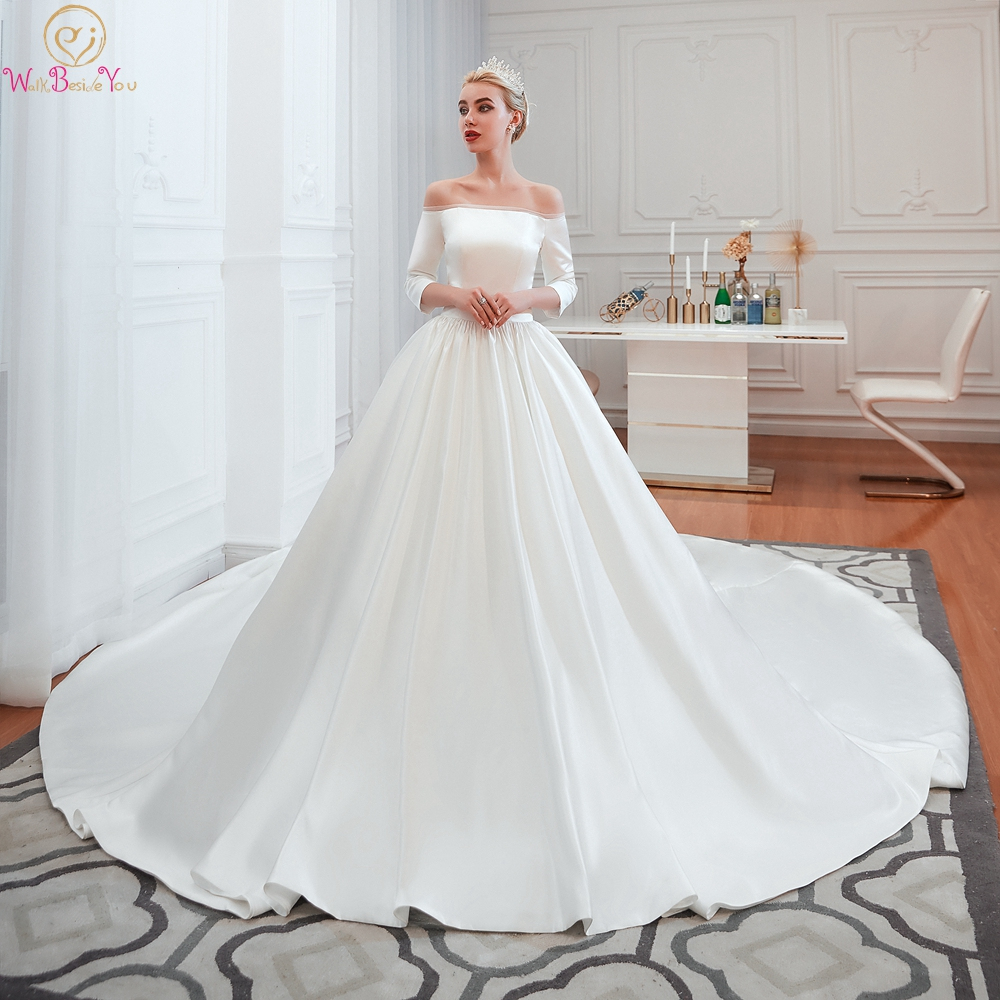 Cathedral Wedding Dresses 2020 White Off Shoulder Ball Gown Satin Three Quarter Sleeves 3/4 Simple Bridal Gowns Walk Beside You