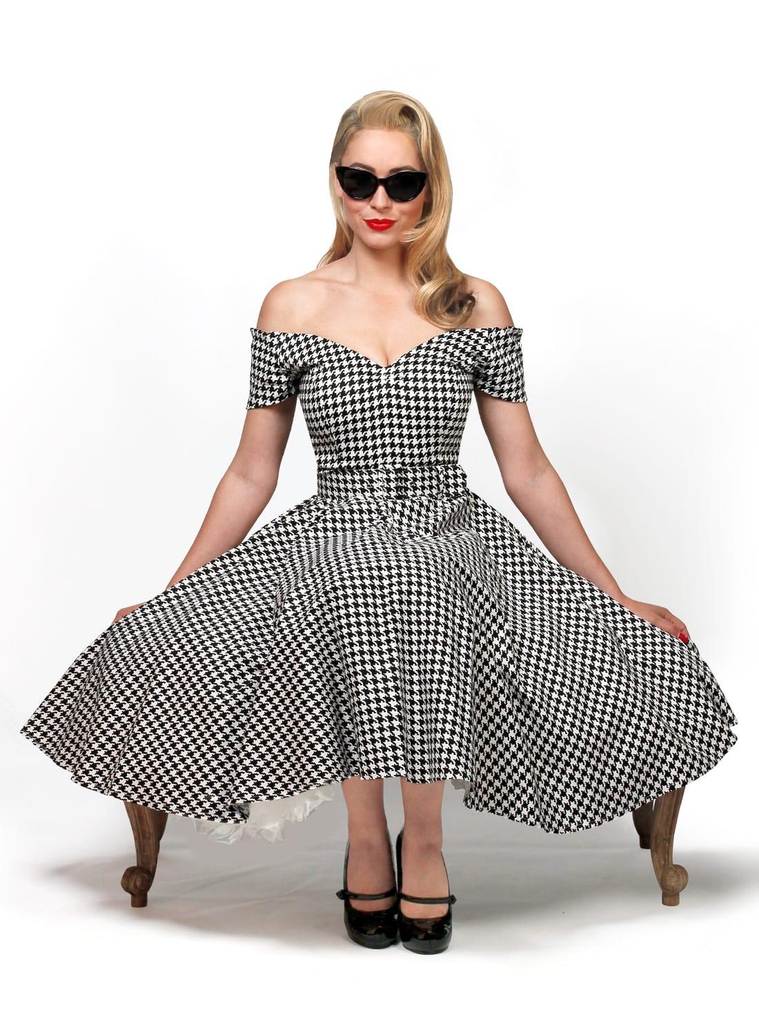US $55.19 31% OFF|30 summer women vintage 50\'s houndstooth circle swing  dress in black white plus size dresses rockabilly vestidos pin up jurken-in  ...