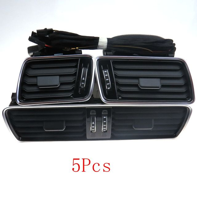 4Pcs  OEM VW Passat B6 B7L CC R36 Chrome bright piano paint Air Vent with wires LED Background Red Light 3AD 819 728A
