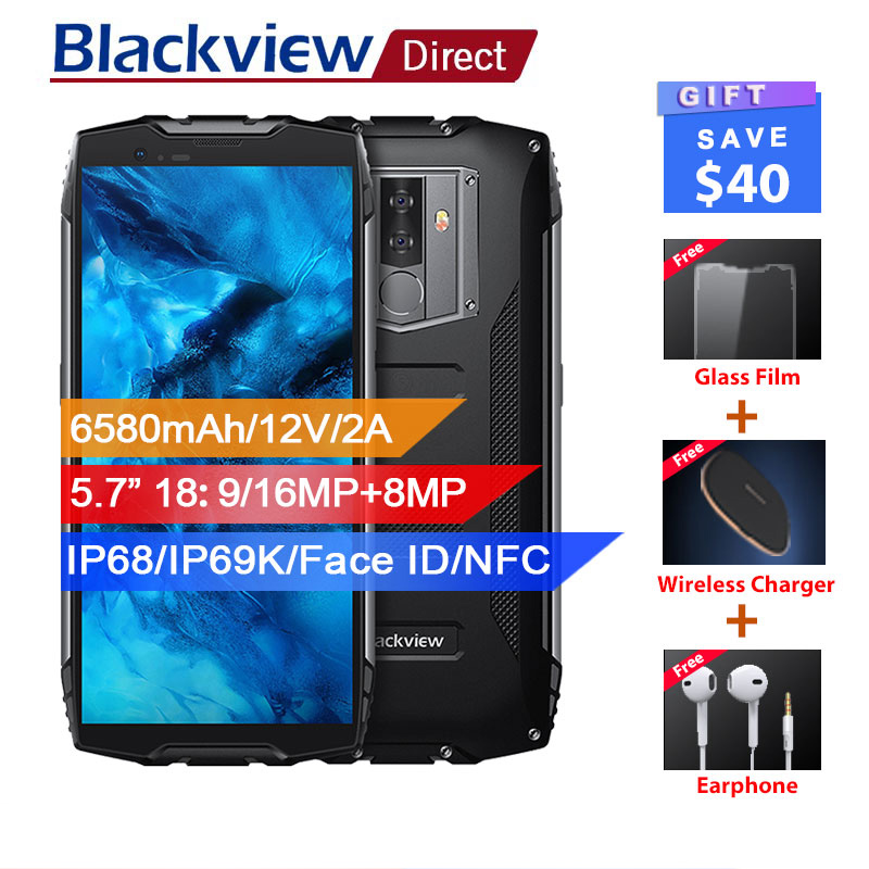 """Blackview BV6800 Pro IP68 Waterproof smartphone 4GB+64GB 5.7"""" 18:9 4G mobile phone 16MP Android 8.0 6580mAh NFC Wireless charger"""
