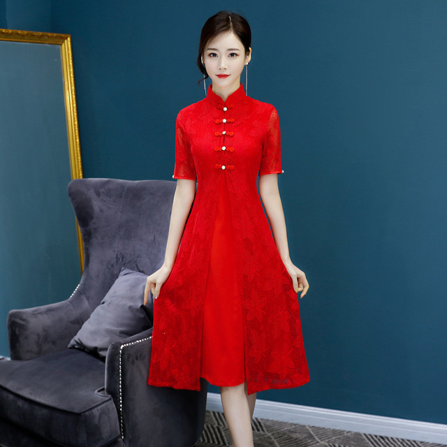 New Red Traditional Chinese Women Simple Dress Vintage Lady Floral Vietnam  Aodai Qipao Summer Lace Sexy Short Cheongsam f570578f14dc