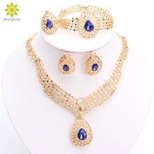 Dubai Fashion Vintage Luxury Rhinestone Bridal Necklace Earring Bracelet Ring African Costume Gold Plated Jewelry Sets