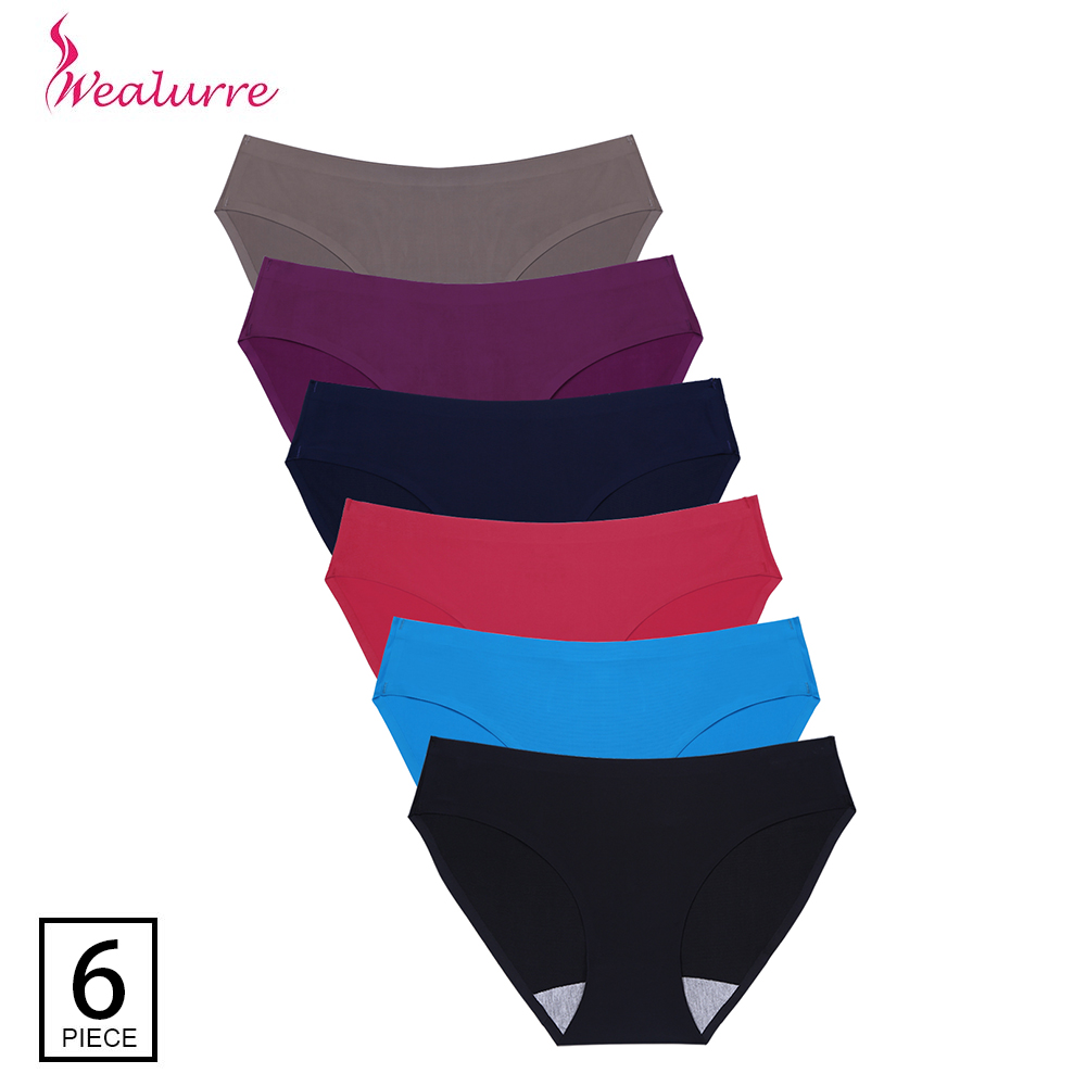 Wealurre 6Pcs Seamless   Panties   Briefs Sexy Low Waist Invisible Women Underwear   Panties   Lingerie Ladies Nylon Spandex Underpants