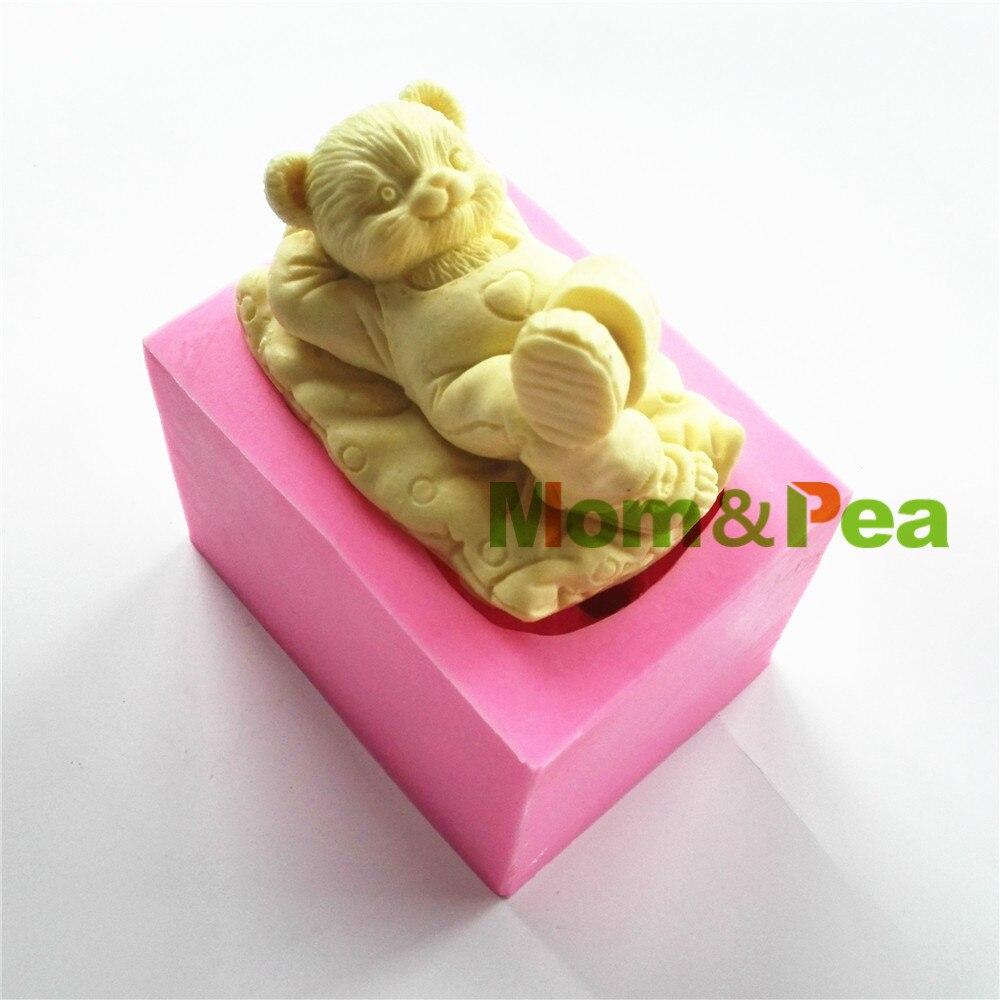 Мама и гороха 0772 Бесплатная доставка мультфильм мальчик медведь формы силиконовые формы украшения торта помадка торт 3D формы Еда Класс