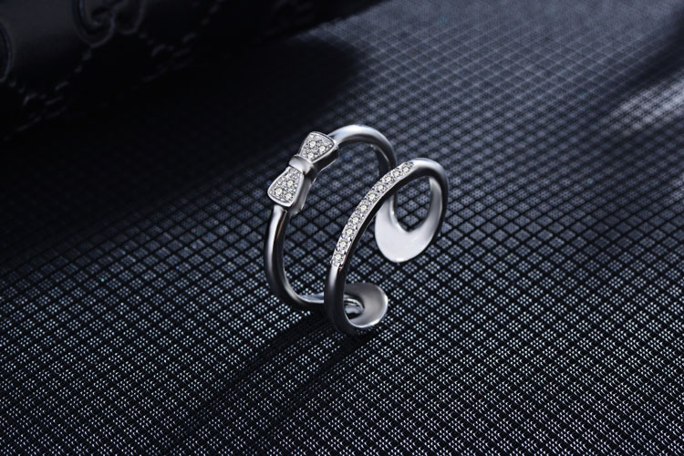 Promotion 925 sterling silver fashion bowknot crystal women party ring gift ladies finger rings jewelry no fade wholesale cheap in Rings from Jewelry Accessories