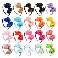 20Pcs 4Inch Colorful Bow Headband Newborn Baby Hair Accessories Girls Headbands Flower Satin Ribbon Children Headwear
