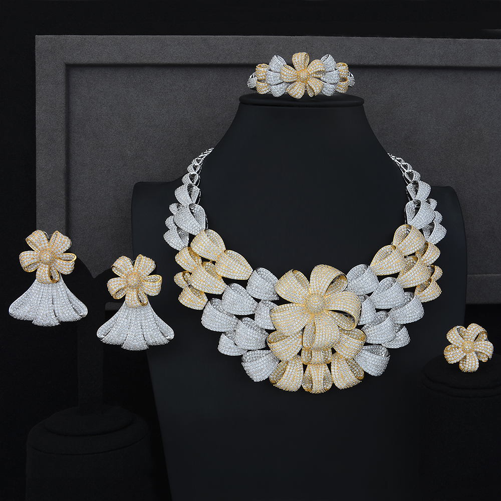 Luxury Big Flower Necklace Bracelet Earring Ring Jewelry Sets Cubic Zirconia For Wedding Engagement Anniversary PerformanceJewelry Sets   -