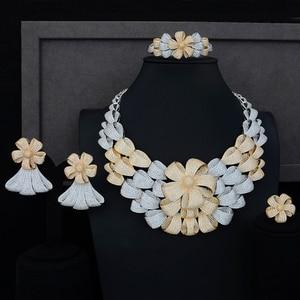 Image 1 - יוקרה גדול פרח שרשרת צמיד עגיל טבעת תכשיטי סטי מעוקב Zirconia לחתונה אירוסין יום נישואים ביצועים