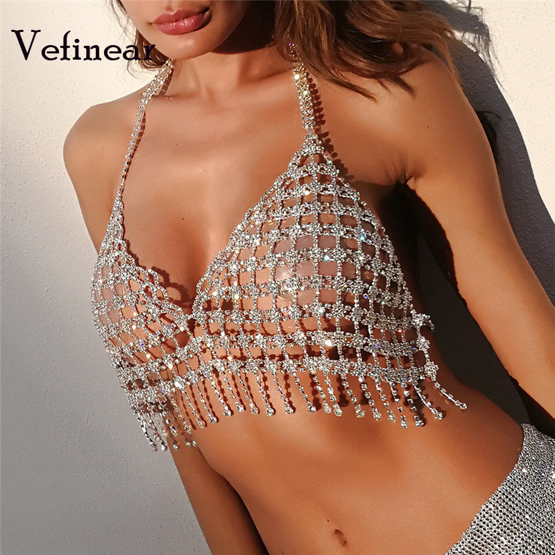 Vefinear Women Crop Tops 2018 Summer New Pattern Sexy Lightning Tassels Diamonds Sexy Fashion Night Party Sequined Ladies Blouse