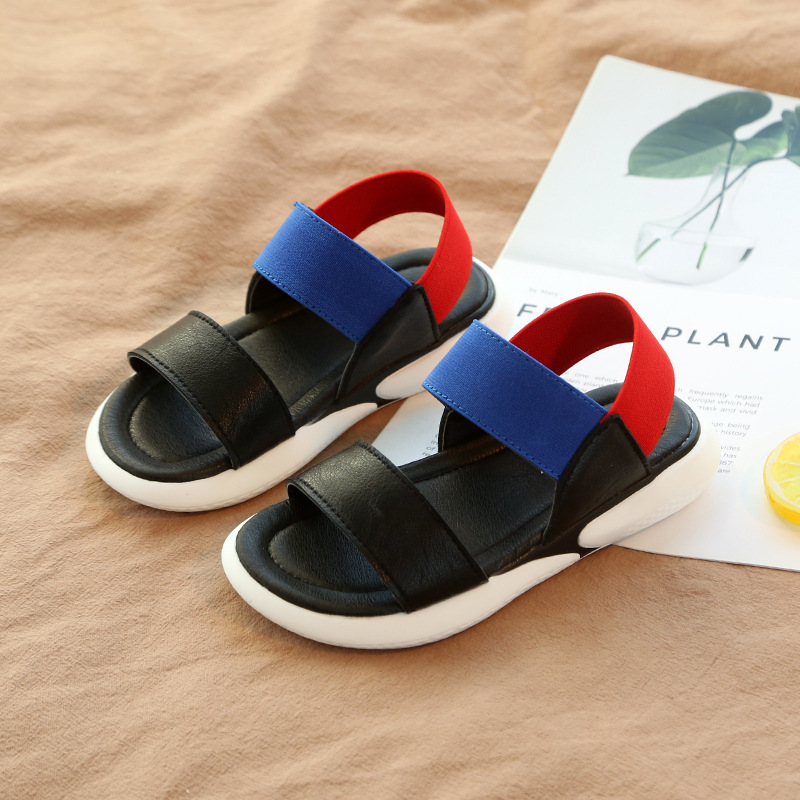 Summer Style Boys Patchwork Beach Sandals Girls Children Slip-on Rubber  Sole Slippers Kids Slip b1e5ad57ca0e