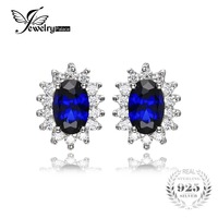 Kate Princess Diana William Wedding 2 5ct Blue Sapphire Channel Stud Earrings For Women Vintage Set