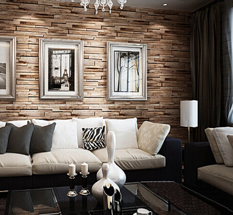 Great Wall 3D Luxury Wood Blocks Effect Brown Stone Brick Vinyl Wallpaper Roll Living Room Wall