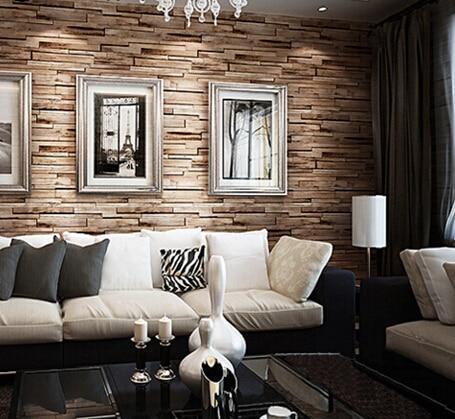 Great Wall 3D Luxury Wood Blocks Effect Brown Stone Brick