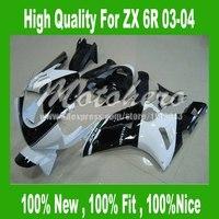 Freecustom NINJA Fairing FOR KAWASAKI ZX-6R 2003 2004 Ninja ZX 6R 03 04 ZX6R 03 04 ZX 6R 636 03 04 fairing kits white black body