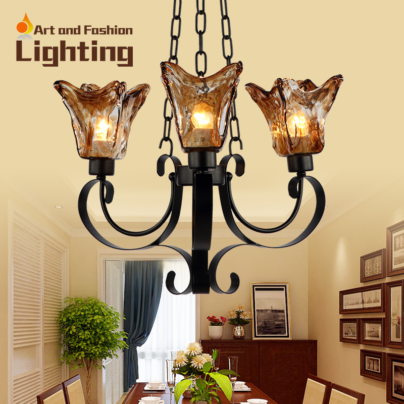 ФОТО Mediterranean Brown Stained Glass Chandelier Lights Curved Wrought Iron Material 3 Lights CH060-3H