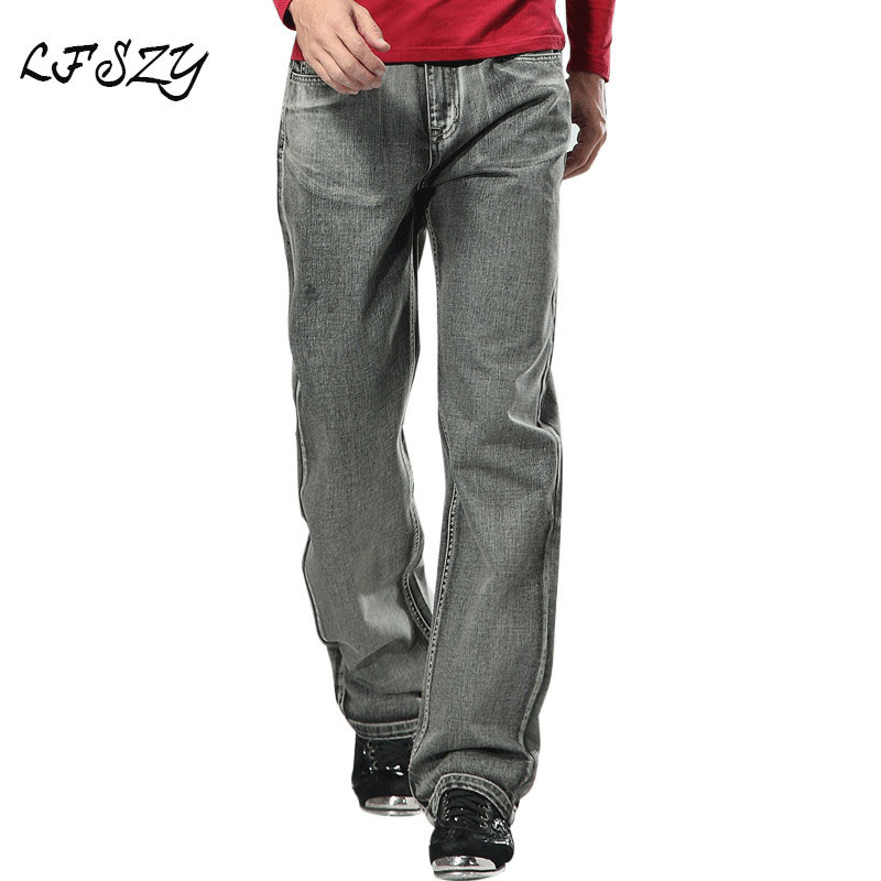2019 Men's Brand Jeans High Quality Gray Mens Retro Baggy Jeans Hip Hop  Loose Skateboard Denim Pants Brand Clothes Size 28-48