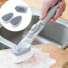 2 в 1 длинная ручка щетка для чистки со съемной насадкой губка диспенсер для мыла набор кистей для мытья посуды кухонные инструменты для чистки