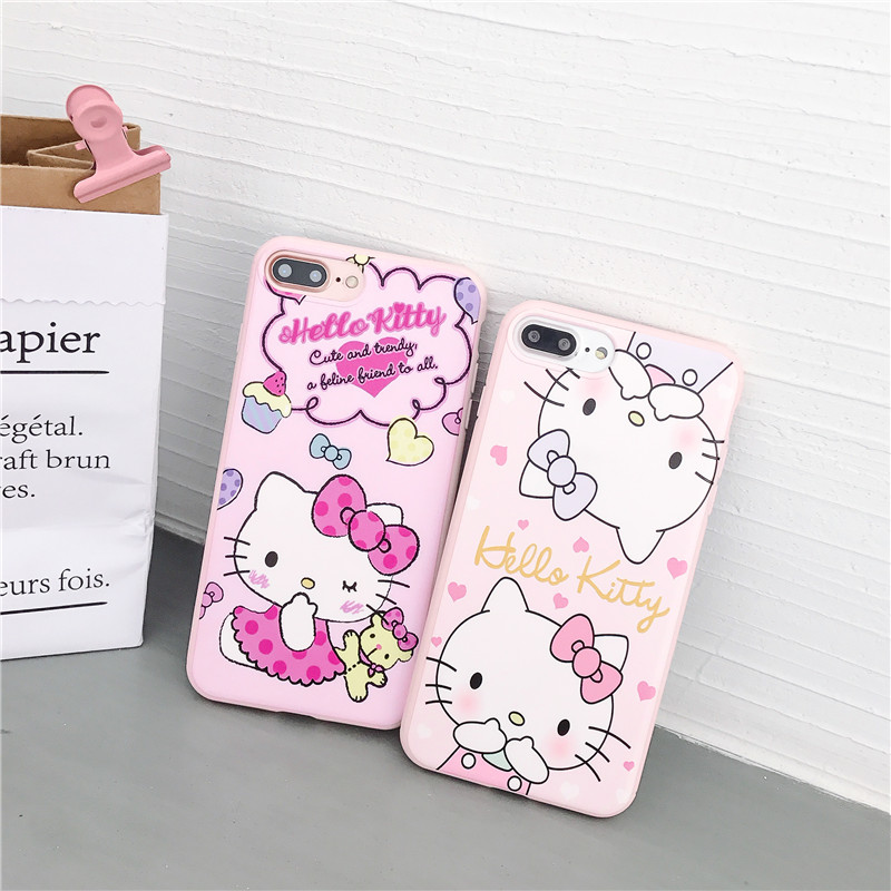 Cartoon KT cat case For iPhone X 7 8 6 6S plus hello kitty full tpu back cover for iphone7PLUS 6splus 8PLUS 6APLUS case