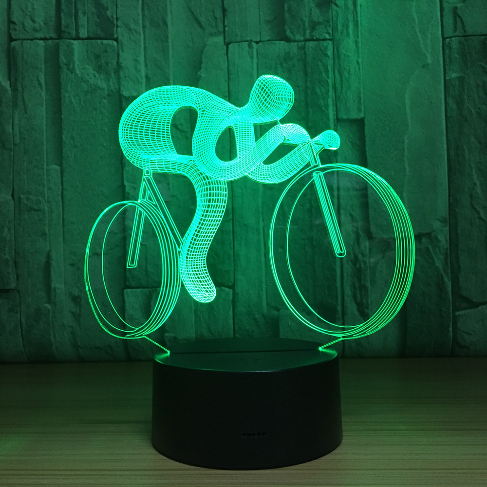 Ride Bike 3D Lamp LED Night Light 7 Color Changing 3D Visual Hologram Decor AAA Batteries Usb Table Lampara Lamp for Sports Guy