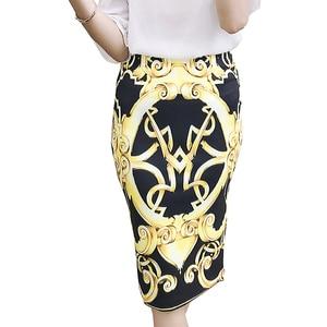 Image 2 - Cr feminino chique vintage impressão geométrica cintura alta bodycon longo lápis saia falda jupe femme tubo calças finas M 2XL