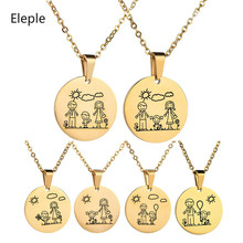 Eleple  Lovely Stainless Steel Family Necklaces for Mom Dad Son Daughter Cartoon Clavicle Chain Gift Jewelry Wholesale N770-775