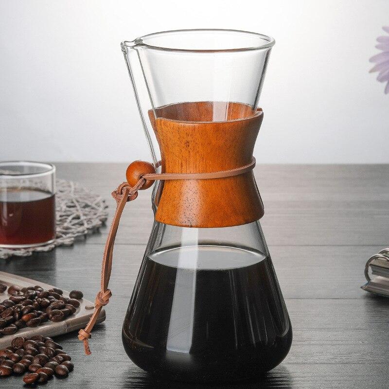 550 мл высокое боросиликатное стекло Pour-over кофейные горшки ручной капельный горшок термостойкая стеклянная кофейная посуда