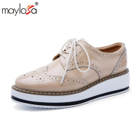 MAYLOSA Genuine Leather Flats Shoes Woman Vintage Oxford Shoes Handmade Oxford Shoes For Women Casual Comfortable