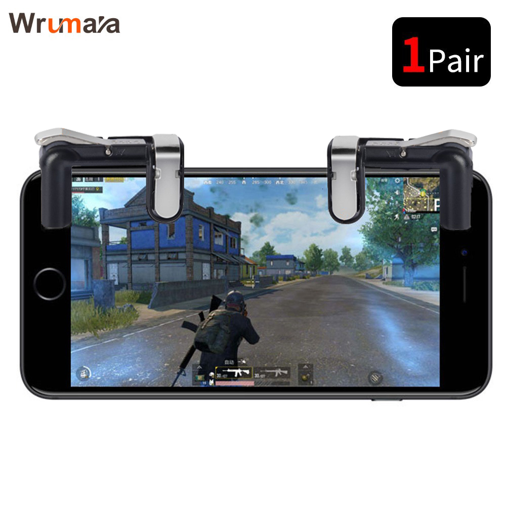 Wrumava Mobile Controller L1R1 Shooter Trigger Fire Button PUBG Controller For Smart Phone With Support Function
