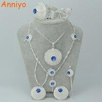 Silver Ethiopian Jewelry Sets W Blue Stone Silver Plated Habesha Bride Wedding Eritrea Forehead Chain Hair