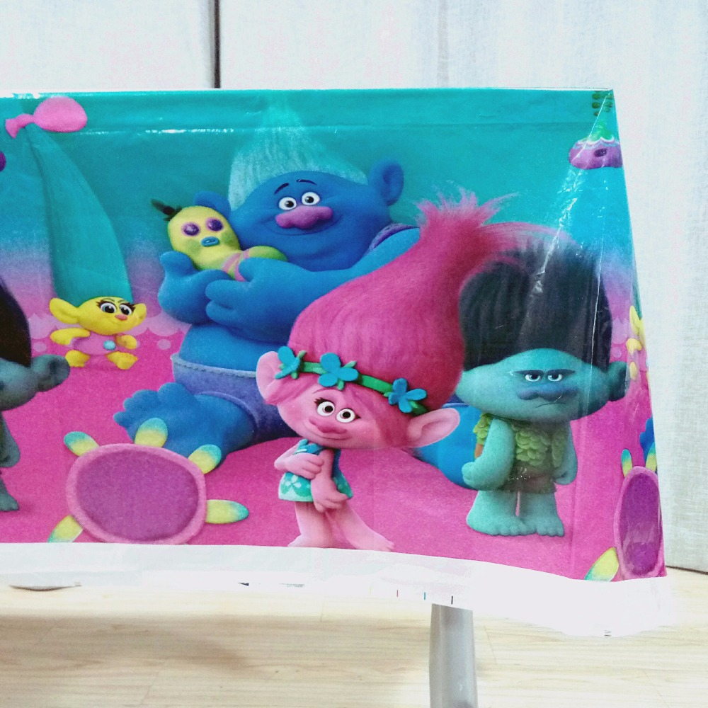 108cm*180cm/set Trolls Table Cloth Cartoon Theme Party Birthday Party Decoration Disposal Kids Favor Party Supplies Set
