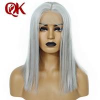 Queenking волос Серый пепельный блондин Цвет Волосы remy парик короткие натуральные волосы боб Синтетические волосы на кружеве натуральные волос