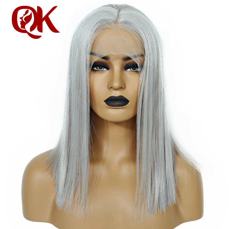 Queenking Hair  Grey Ash blonde Color Remy Hair Wig Short Human Hair Bob Lace Front human hair Wig Natural Hairline 180% density