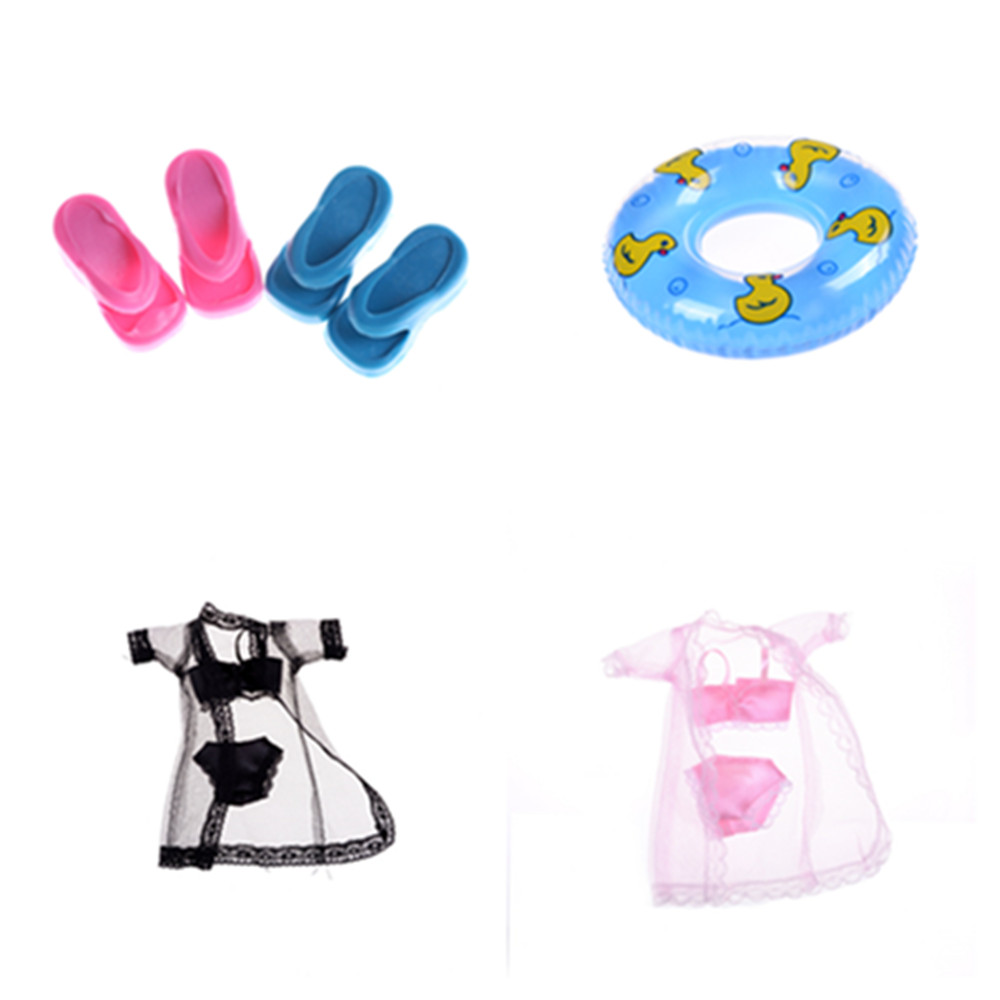 One Set Swimwear Beach Bathing Swimsuit / Slippers / Swimming Buoy Lifebelt Ring For  Doll Accessories Best Girl' Gift