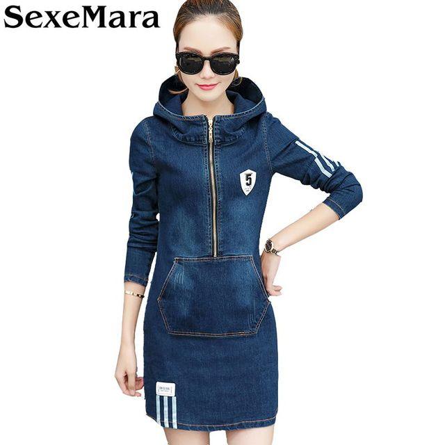 Sexemara 2018 Retro Fashion Jean Dress Long Sleeve Blue Denim Dress