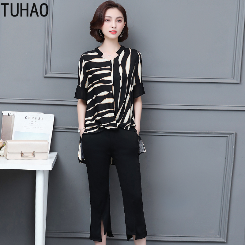 TUHAO 2019 Summer Black Office Casual Women Set Two Piece Tops+pants Women Suit Sets Plus Size 5XL 4XL 3XL Women's Costumes LZ17
