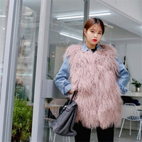 Korean version of the 2018 autumn and winter new fur vest female long section imitation Mongolian Sheep Fur pink vest