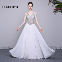 100% Real Photo Halter Sleeveless Chiffon-Eine Linie Lange Prom Kleider 2017 Weiß Perlen Backless Bodenlangen Abendkleid SMLA030