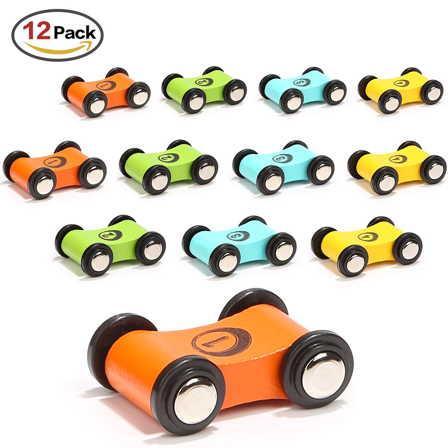 12PCS/Lot Wooden Track Car Toys Small Diecast Replacement Tollder Gliding Car for Kids Turn back Ramp Car Racing Games image