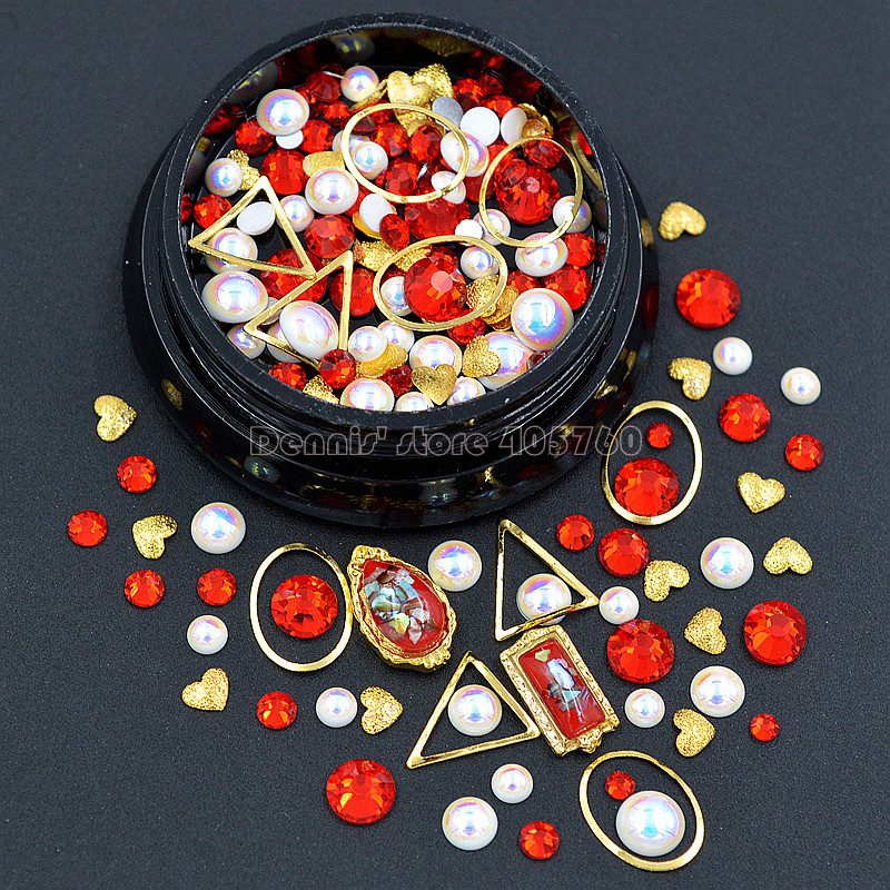 Купить с кэшбэком 1 Pot Mix Shapes Flatback Diamond Pearls Gold Triangle Oval Metal Frame Heart Nail Art Rhinestones Decorations Manicure DIY Tip