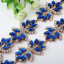 1 Yard Gold Crystal Rhinestone Chain Trims with Red Blue Stones and Chain  for Sewing DIY Dresses Bags Shoes a58adcfc96c0