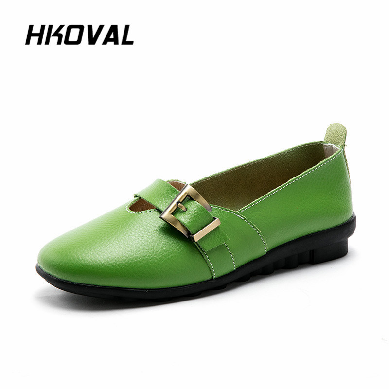 HKOVAL Women Shoes Sneakers Loafers Genuine Leather Flats Moccasins Spring Autumn Female Casual Ladies Leather Black Footware in Women 39 s Flats from Shoes