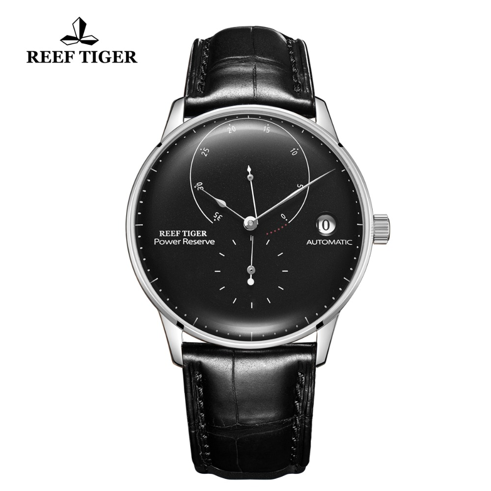 2020 Reef Tiger/RT Top Brand Luxury Casual Watches Mens BLack Genuine Leather Strap Steel Automatic Watch RGA82B0-2