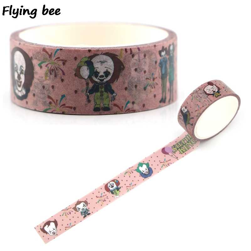 Flyingbee 15 Mm X 5 M Kertas Washi Tape Stephen King Dingin Pita Perekat Diy Scrapbooking Stiker masking Tape X0335